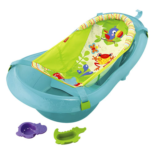 soft padded sling comfortably cradles newborns in fisher price rainforest friends tub. Black Bedroom Furniture Sets. Home Design Ideas