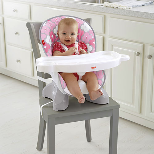 spacesaver high chair pink white - Space Saving High Chair