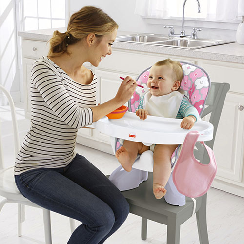 SpaceSaver High Chair - Pink white