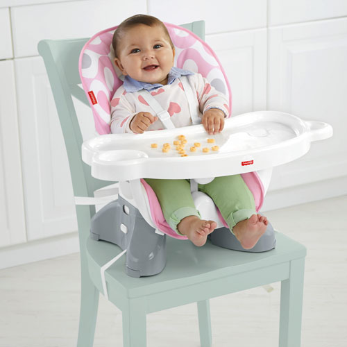 SpaceSaver High Chair - Pink Ellipse