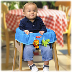 Protect baby from dirt and germs while dining out. Two tethers hold baby's favorite toys.