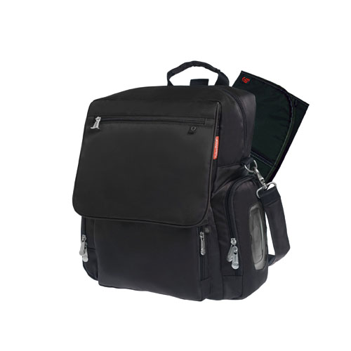 deluxe convertible diaper backpack with the fastfinder pocket system black. Black Bedroom Furniture Sets. Home Design Ideas