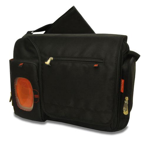 deluxe messenger diaper bag with the fastfinder pocket system black. Black Bedroom Furniture Sets. Home Design Ideas