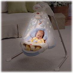 The papasan seat comfortably cradles baby for swinging as songs and nature sounds play and the starry mobile spins overhead.