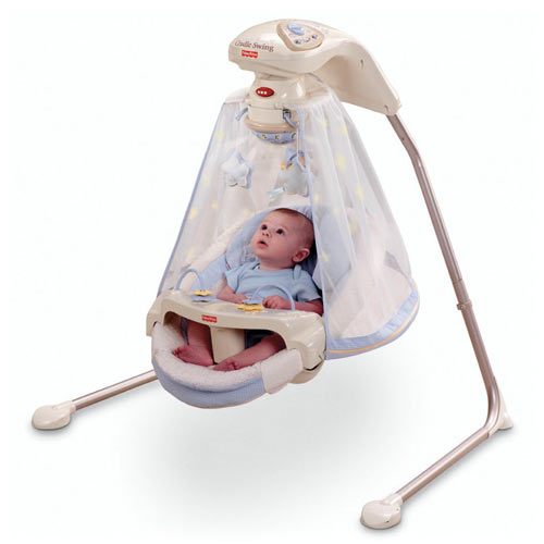 Starlight Papasan Cradle Swing on baby play chair