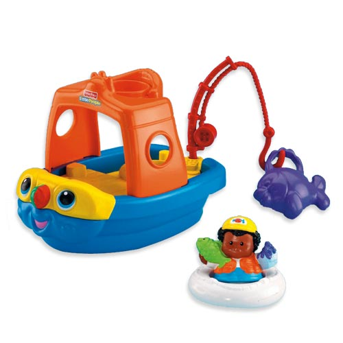 Includes boat with movable fishing rod fish scoop for Fisher price fishing pole