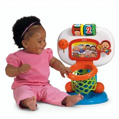 Start with put-and-take fun as baby places balls into the basket for music and sounds.