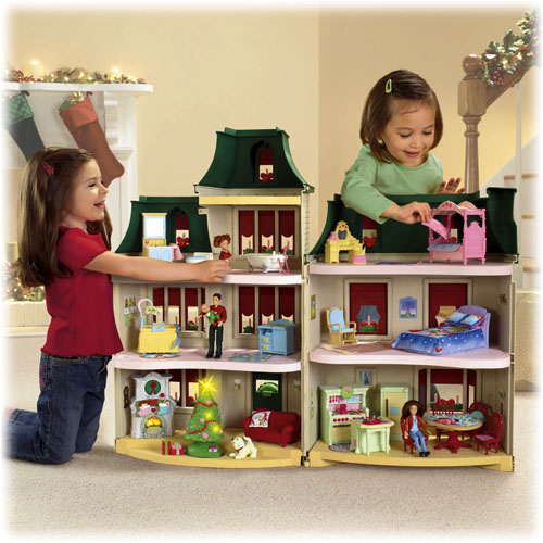 fisher price loving family exclusive holiday dollhouse fully furnished free ship. Black Bedroom Furniture Sets. Home Design Ideas