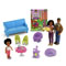 Includes Mom, Dad, Toddler, Baby, sofa, bouncer, tea table, 2 chairs, hat and toy bunny.