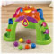 6 colorful balls, ramps for roll-down fun & surprises and 3 legs of play!