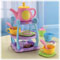 "Includes teapot with ""magic"" pouring action, 3-tier tea caddy with handle, 4 cookies, 2 cups, 2 spoons, sugar bowl & creamer."
